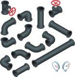 Vector a coleção isométrica lisa da ilustração 3d das tubulações detalhadas das partes da construção, encaixes, válvula de porta, Imagem de Stock