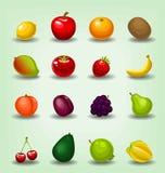 Vector a coleção realística do molde do fruto dos desenhos animados que inclui o starfruit alaranjado da banana da morango da man Fotos de Stock Royalty Free