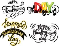 Vector colection of Thanksgiving lettering for invitations or festive greeting cards. Handwritten calligraphy set vector illustration