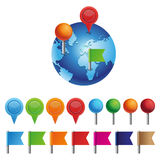 Vector a coleção com pinos e marcas no globo Fotografia de Stock