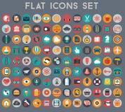 Vector a coleção do negócio liso colorido e financie ícones Imagens de Stock