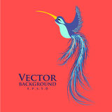Vector colibri. Graceful hummingbird. Fashionable Royalty Free Stock Images