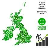 Vector collage feliz del mapa de Gran Bretaña y de Irlanda de sonrisas libre illustration