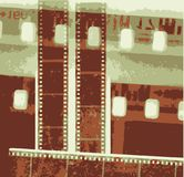 Vector Collage vintage grunge film strip in sepia variations Stock Photography