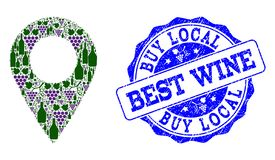 Composition of Grape Wine Local Place and Best Wine Stamp stock illustration