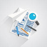 Vector collage of office items. Illustration art Stock Photo
