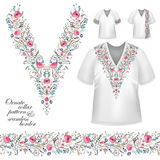 Vector collar vintage design. Vector design for collar shirts, blouses, T-shirt. Cute flowers. Colorful embroidery. Seamless border bonus. Pink blue Stock Photo