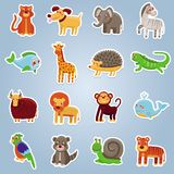 Vector collection with 16 cartoon animals. Funny characters Royalty Free Stock Photos