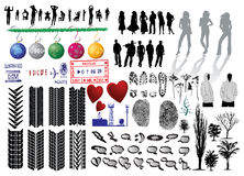 Vector collection. Silhouette of girls and collection of Vector Fingerprints, Footprints and more Stock Images