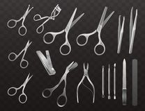 Vector collection of accessories for manicure, haircuts and makeup. vector illustration