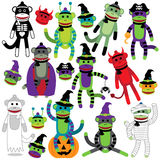 Vector Collection of Adorable Halloween Themed Sock Monkeys. In Costumes Stock Images