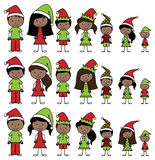 Vector Collection of African American Christmas or Holiday Style Stick Figures Stock Images