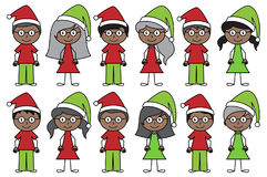 Vector Collection of African American Christmas or Holiday Style Stick Figures Royalty Free Stock Image