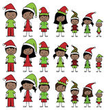 Vector Collection of African American Christmas or Holiday Style Stick Figures Royalty Free Stock Photography