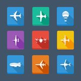 Vector collection airplane and gray. Set icons Royalty Free Stock Images