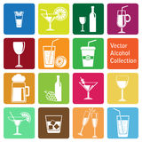 Vector collection: alcohol icons Royalty Free Stock Photo