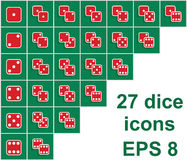 Vector collection of all combinations of dice, double red isolat. Ed cubes on green casino table background Stock Photo