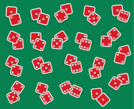 Vector collection of all combinations of dice, from one-one to s. Ix-six, double red isolated cubes with numbers on green casino background Royalty Free Stock Photography