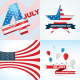 Vector collection of american independence day background. Vector collection of american flag design of independence day with balloon, ribbon and stylish wave Royalty Free Stock Image