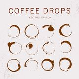 Vector collection of artistc round hand made coffee stains isoalted on textured background. Perfect for coffee shop packaging design, emblems, insignia, etc Stock Photography