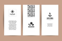 Vector collection of artistic cards with coffee emblems & logo, hand drawn coffee beans & seeds, textures & patterns. Coffee company shop insignia design stock illustration