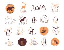 Vector collection of artistic hand drawn christmas decor elements compositions in sketch style - penguin, deer, polar bear, fir tr. Ee etc. Good for royalty free illustration
