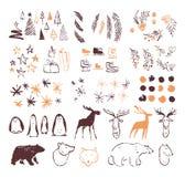 Vector collection of artistic hand drawn christmas decor elements in sketch style - penguin, deer, polar bear, fir tree, snowflake. S, skates, mistletoe etc vector illustration