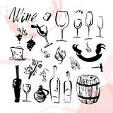 Vector collection of artistic hand drawn wine logo Stock Photos