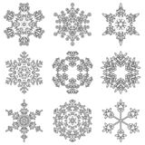 Vector collection of artistic icy abstract crystal snow flakes. Isolated on background as winter december decoration group or collection. Ice or frost beautiful stock illustration