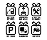 Vector collection of auto gift flat icons, car service square symbols. Vector collection of auto gift flat icons, car service square black-and-white symbols Royalty Free Stock Images