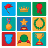 Vector collection of award and trophy symbols Royalty Free Stock Photos