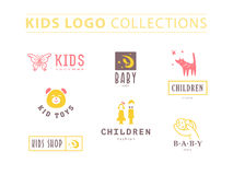 Vector collection of baby logo. Kids fashion label design. Children clothes brand. Baby and kid store insignia template Royalty Free Stock Photo