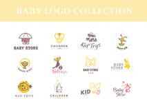 Vector collection of baby logo. Kids fashion label design. Children clothes brand. Baby and kid store insignia template Stock Images