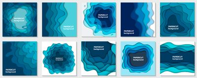 Vector collection of 10 backgrounds with blue paper cut shapes. 3D abstract paper art style, design layout for business presentations, flyers, posters, prints vector illustration