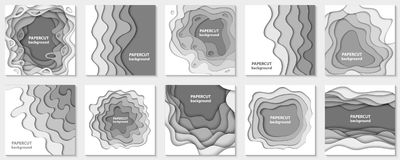 Vector collection of 10 backgrounds with white paper cut shapes. Royalty Free Stock Photo