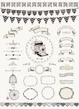 Vector Collection of  Banners, Ribbons and Frames. Vector Black and White Hand Drawn Banners, Ribbons, Frames Stock Images