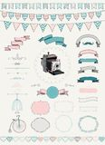 Vector Collection of  Banners, Ribbons and Frames. Vector Colorful Hand Drawn Banners, Ribbons, Frames Royalty Free Stock Photos
