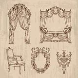Vector collection of baroque furniture made in hand drawn style. Royalty Free Stock Images