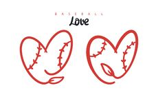 Vector collection of baseball hearts. Abstract heart, logo. Print design for covers, postcards and t-shirts.