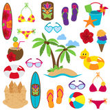 Vector Collection of Beach and Tropical Themed Images. With sufboard, flip flops, sand castle and toys stock illustration