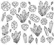 Vector Collection of Beautiful Crystals and Gemstones Stock Photo