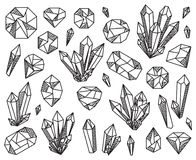 Vector Collection of Beautiful Crystals and Gemstones Royalty Free Stock Image