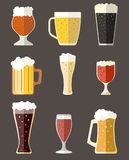 Vector collection of beer mugs icons. Vector set of beer mugs icons stock illustration
