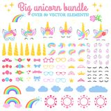 Vector collection - Big unicorn bundle. Create your own unicorn. Unicorn constructor - horhs, eyelashes, ears, hairstyles, flowers. Crowns, glasses, bows stock illustration