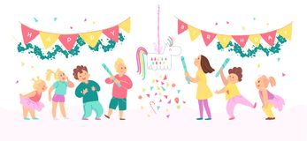 Vector collection of birthday party happy kids with balloons, pinata playing and celebrating isolated on white background.