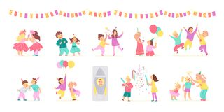 Vector collection of birthday party happy kids with balloons, pinata playing and celebrating isolated on white background. stock illustration