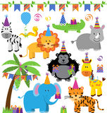 Vector Collection of Birthday Party Themed Jungle, Zoo or Safari Animals Stock Image