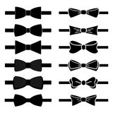 Vector collection of black bow ties Stock Images