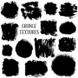 Vector collection of black ink abstract grunge textures. Stock Image