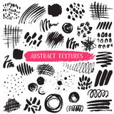 Vector collection of black ink abstract textures. Royalty Free Stock Image